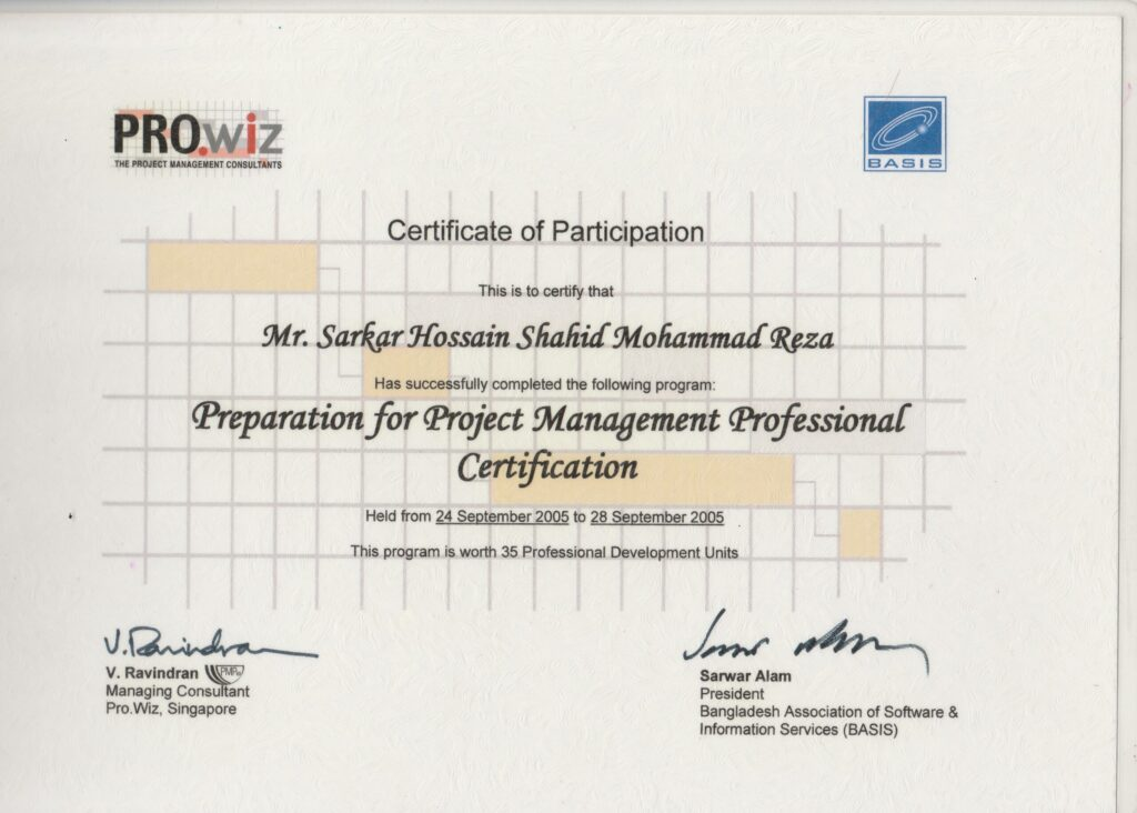 preparation for project management professional certification